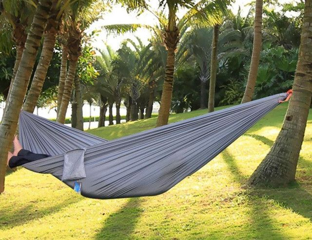 17 Colors High Strength Parachute Nylon Fabric Camping Single Parachute Hammock With Strong Rope for Camping Hiking Travel