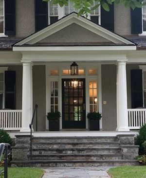 Anne Decker, traditional front door with sidelights and transom, black door, entry by Ruth pyle