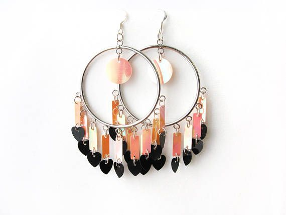 Pink Gypsy Hoop Earrings, Black Heart Charm Chandelier Earrings, Tribal Hippie Hoops, Long Sequin Earrings, Iridescent Festival Earrings