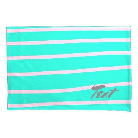 cute pink stripes pattern on a mint background pillow case #wedding #pillowcases