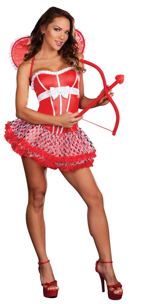 cupid costume womens valentine set 4498 organza ruffle skirt with metallic heart print includes removable