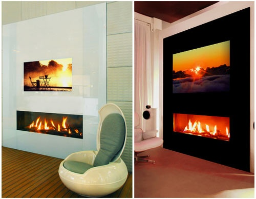 Built in TV over long narrow fireplace.   New Home Ideas ...