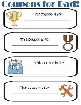 Father's Day Superhero Gift book coupons!  Cute :)