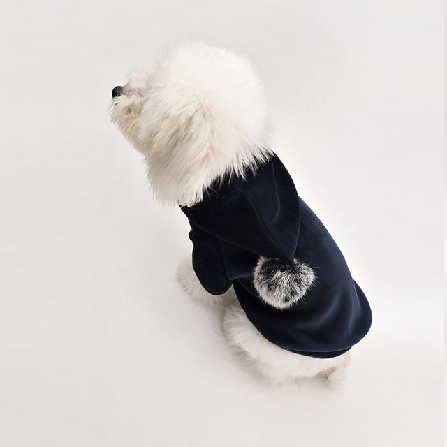 Shiny Cotton Winter Clothes Fur Ball Tip Puppy Hoodie Dog Winter Clothes Dog Hoodie Fur Ball