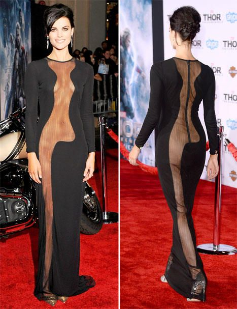 Jaimie Alexander Goes Without Underwear In Shocking Sheer Dress With Body Flashing Cutouts