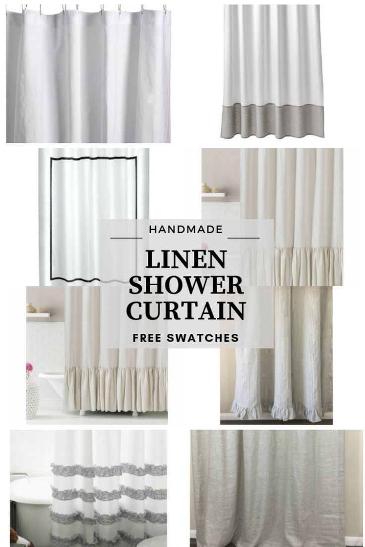 Natural Linen Shower Curtain Drys 3x Faster Various Styles