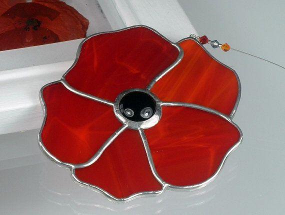 Gebrandschilderd glas Poppy Suncatcher & venster sieraad