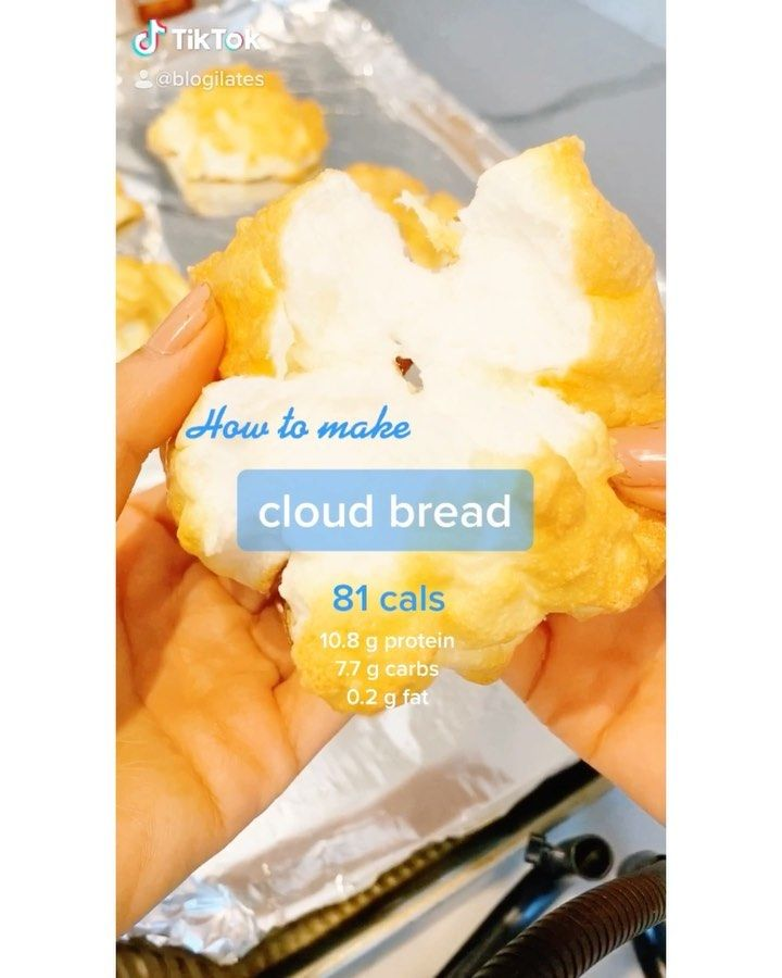 3 Ingredient Fluffy Cloud Bread Recipe Blogilates In 2020 Cloud Bread Sugar Free Recipes Healthy Dessert Recipes