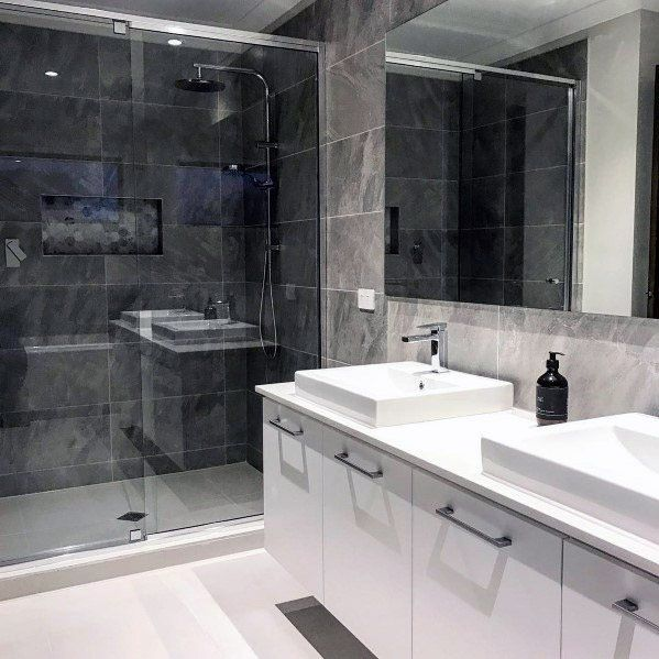 Top 60 Best Grey Bathroom Tile Ideas Neutral Interior Designs Grey Bathroom Tiles Grey Bathrooms Designs Modern Bathroom Tile