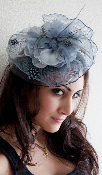 KATE Blue Gray Couture English Hat Fascinator Headband for weddings, parties, special occasions.