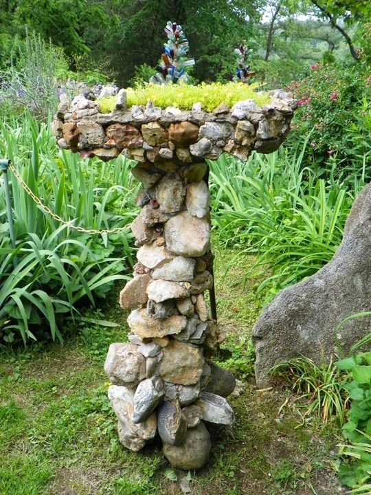 Bird Bath made of Rocks.