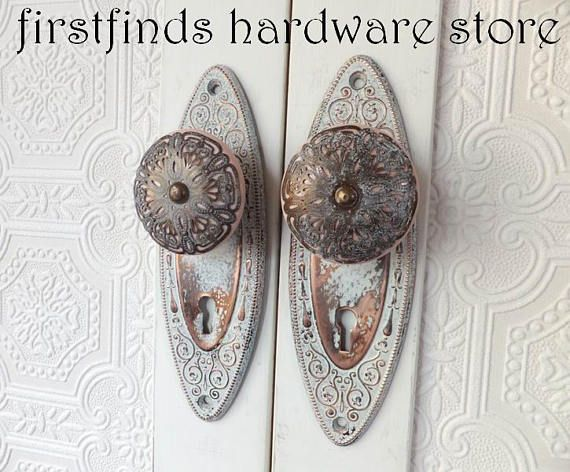 shabby chic cabinet door pull copper pink pantry handle