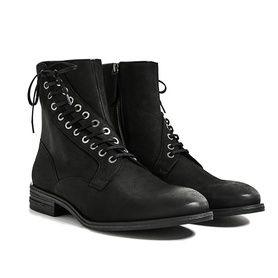 Ботинки мужские кожаные черные с асимметричной шнуровкой Zara