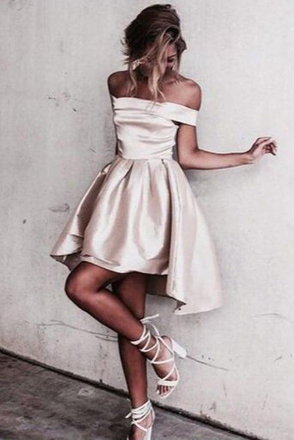 Satin Off Shoulder Short Homecoming Dresses Under 100 Cm388 Short Satin Dress Satin Homecoming Dress High Low Prom Dresses