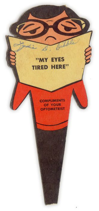 Bookmark - compliments of your optometrist