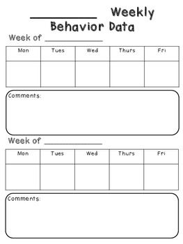 preschool behavior plan weekly behavior chart january behaviour 611