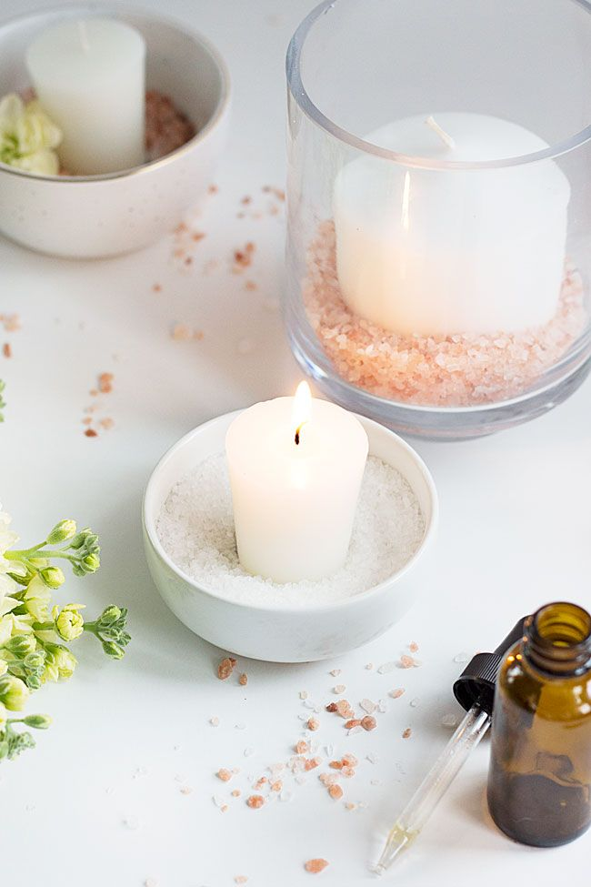 How to Make Himalayan Salt Candle Diffusers | http://helloglow.co/himalayan-salt-candle-diffusers/