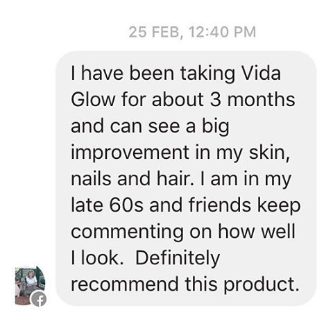 Thank you Cherie Nikolaidis for sending us your review via FB.  We often get asked what is the best age to start on Vida Glow. If you are 25 and under we recommend starting on our Gratitude Package of one sachet a day. Otherwise, we recommend starting on the Prosperity Pack of two sachets a day, one in the morning, and one in the evening. Our Love  Pack is 3 sachets a day and is recommended for those already experiencing the signs of ageing or looking for a tot...