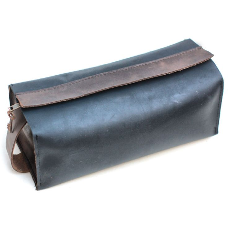 New on Oak Roads - a boxy black leather dopp kit for all your morning man-gear. Also available in tan brown.