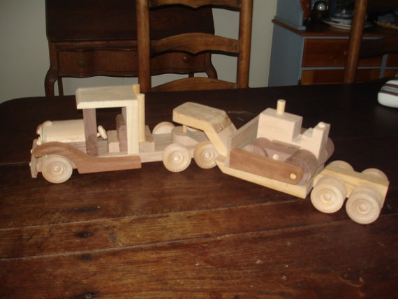 Woodworking Handmade Toy Semi Truck Trailer By