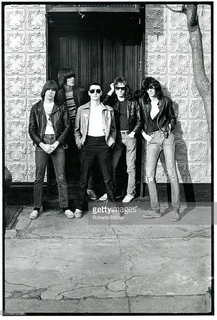 The Ramones pose with their art director and lighting designer Arturo Vega (1947 - 2013) in New York, 1976. Left to right: Johnny Ramone, Dee Dee Ramone, Arturo Vega, Tommy Ramone, Joey Ramone.