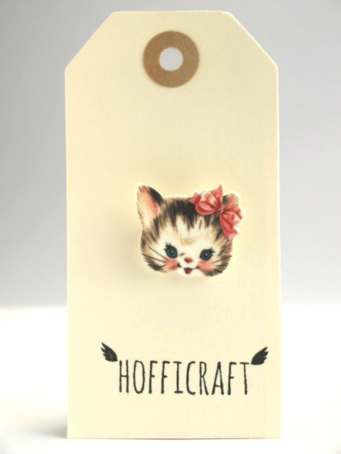 Pink Kitty Brooch  by Hofficraft