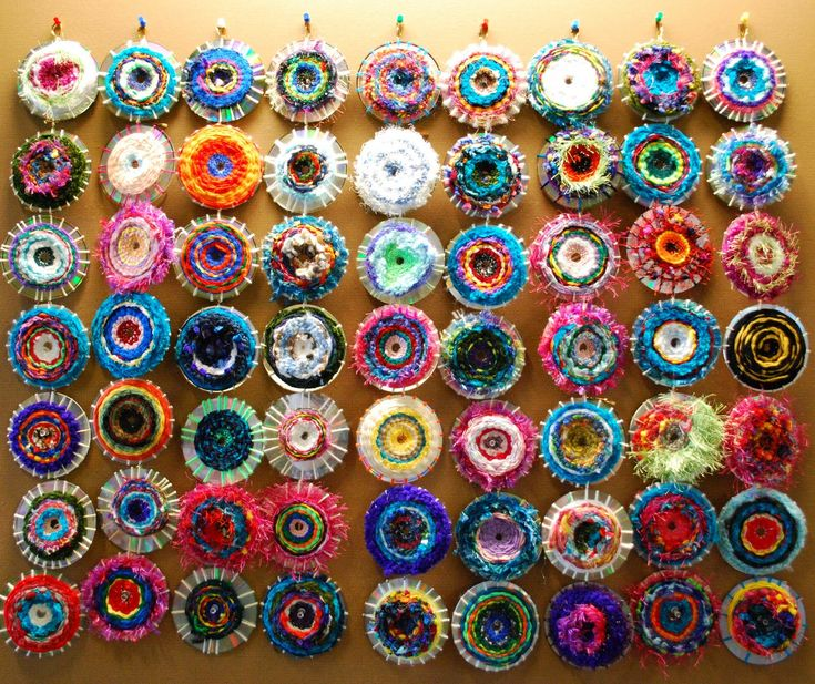 Amazing weavings on old CDs. Love this idea!