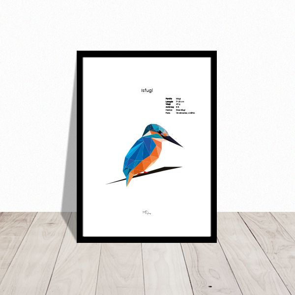 Kingfisher ♥ Isfugl Low poly art poster.  Design Mai-Britt Parylewicz.
