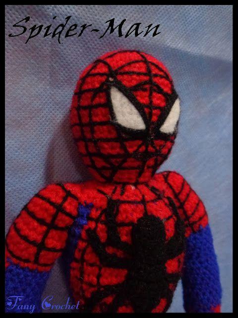 """Spiderman Amigurumi ~ Patrón Gratis en Castellano ( patrón para descargar en PDF debajo de las fotos, click: """"Spider-Man patrón"""" en letras rojas)"""