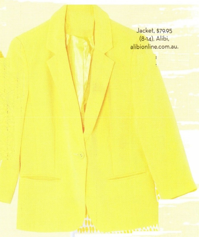 Cropped Yellow Blazer by Alibi at AlibiOnline. As seen in Feb issue.