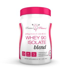 Whey protein 90 Isolate is one of the purest isolates on the market, containing over 90% premium grade protein powder.  Fast acting it's an ideal protein supplement for active women, as it will contribute to lean muscle and aid in muscle maintenance and recovery.  As with all Protein Princess blends, it contains the finest of ingredients, with no added fillers or additives to give you only the finest of protein powders.  Ultra low calorie, carbs and fat.  23g Protein per serving!!