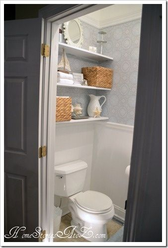 Renovate half bath with chair rail and wallpaper! (For kendra-shelves)
