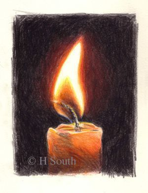 A step-by-step tutorial on how to draw flame using line or colour, with some tips to think about when drawing candles, fire or flames.: Drawing a Candle in Colored Pencil Step Three #AmazingPencilDrawings #pencildrawingtutorials #pencildrawings