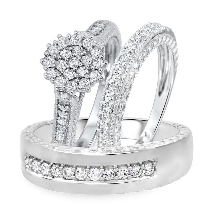 1 carat diamond trio wedding ring set 14k white gold - Trio Wedding Ring Sets
