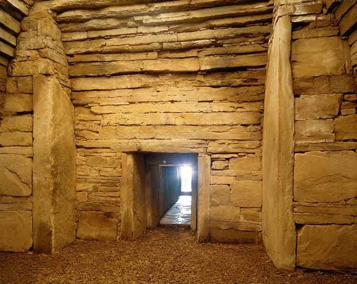 Maeshowe chambered passage tomb, Orkney Islands, Scotland, about 2800 BC. The mound encompassing the tomb is still 115 ft. in diameter and 24 ft. high.