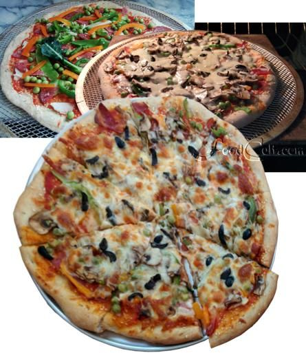 #piza #toppings are limited by your imagination. This one, under the #olives, #cheeses (#caciocavallo, #mozzarella and #parmesian) and #mushrooms, has all the usual (#strainedtomatoes + #salami)  plus #peas and #snowpeas, #broccoli and #cauliflower stalk, and green and orange #sweet #bellpepper slices. #recipes @ http://www.foodcult.com/pizzas.php