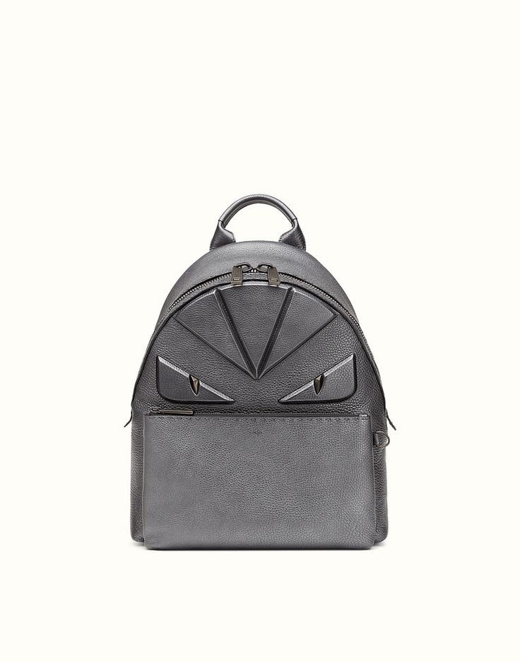 FENDI BACKPACK - in ruthenium-colored Roman leather