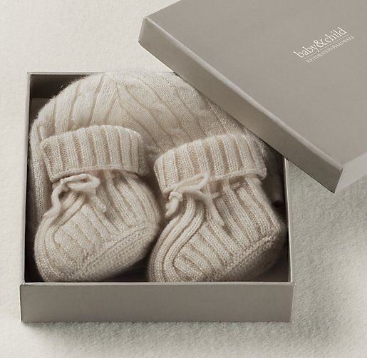 Cable Knit Cashmere Hat & Bootie Set | Cashmere | Restoration Hardware Baby & Child