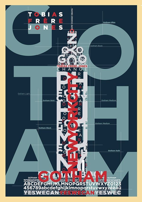 Posters inspired by the work of the font designer Tobias Frere-Jones famous for his creation : Gotham font.