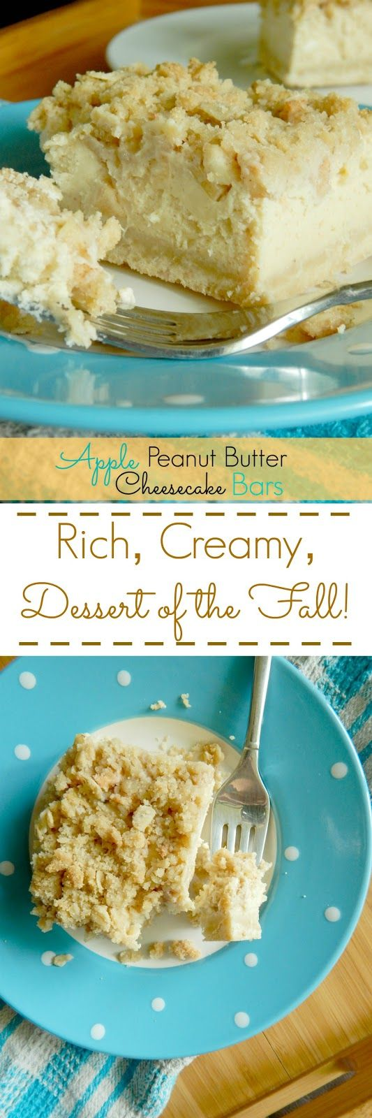 Apple Peanut Butter Cheesecake Bars...creamy, rich, the dessert you want to make in the Fall!