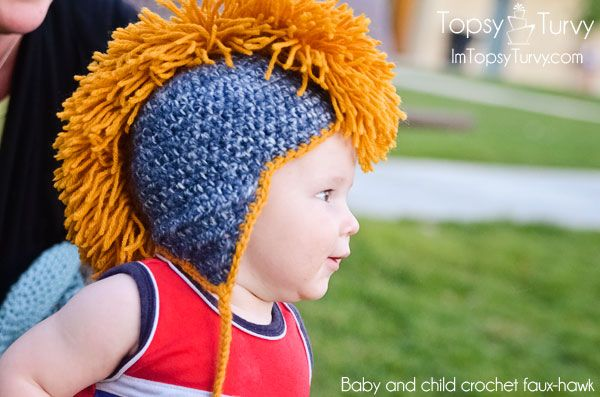 Baby and child crochet faux-hawk mohawk I'll have to make this for my son and grandson. He's silly enough to wear it. lol