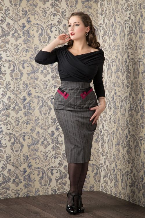 Miss Candyfloss Grey Pinstripes Skirt with Pink detail
