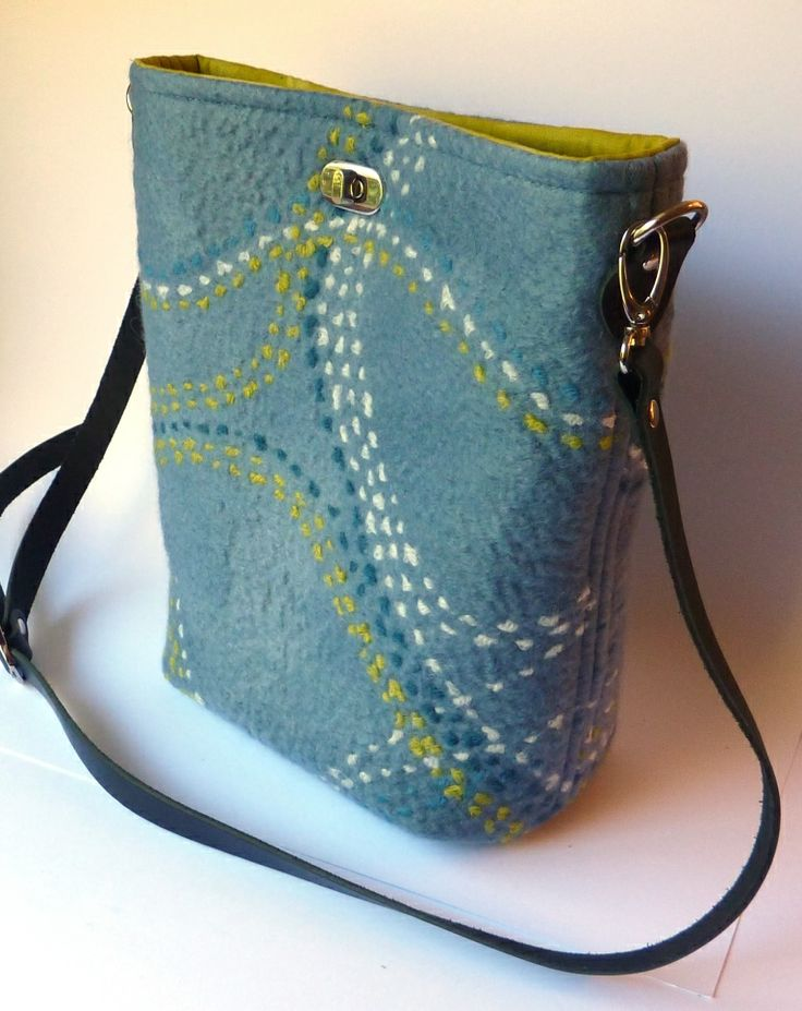 Helen's surface stitching sample made into a bag.   (Fiona Duthie class, Surface Design Online).