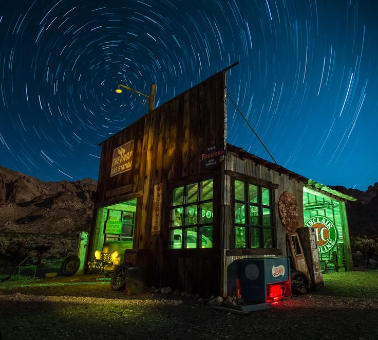 https://flic.kr/p/pjcfmG | Next Services 100 Miles - revisted |  This one demonstrates two concepts: 1) substituting night skys and 2) how to eliminate star trail gaps for stacked images.