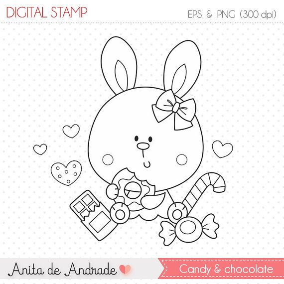 50% OFF Candy Bunny and chocolates Stamp - personal and commercial use, line art, graphics, digital clip art, digital images - S004