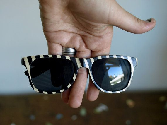 Peewee Herman Inspired Wooden Sunglasses // no. 124 $50: Stripes Wooden, Stripes Sunglasses, Inspiration Wayfarer, Wooden Sunglasses, Wooden Glasses, Veneer Sunglasses, Inspiration Wooden, Wood Sunglasses, Originals Wood