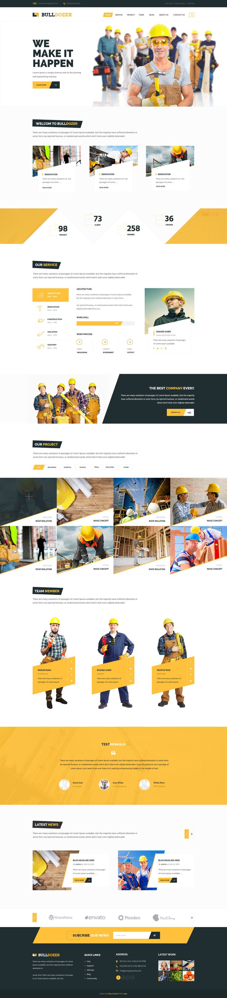 Bulldozer is a nice construction theme design. It has 2 homepage versions with pixel perfect design and all 9 PSD files.   The images in the preview is not included in the download.