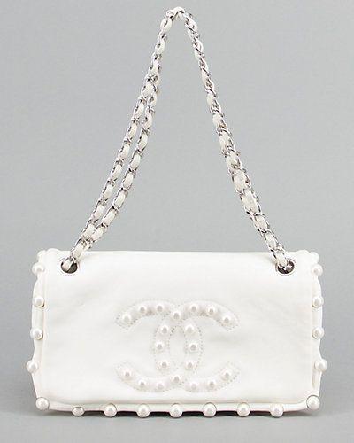 Chanel Limited Edition White Pearl Lambskin Medium Flap Bag