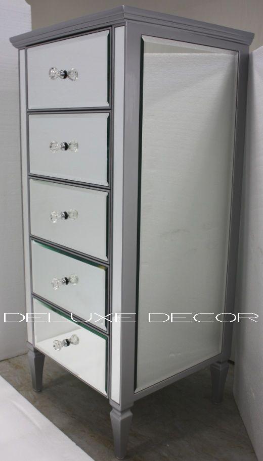 Clair Silver Edge Silver Mirrored Mirror 5 Drawer Narrow Chest 2299S http://deluxedecor.com.au/products-page/clair-collection/clair-silver-edge-silver-mirrored-mirror-5-drawer-narrow-chest-2299s/