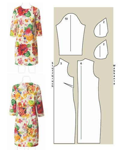 Pattern sheet for 8 different summer dresses. Site and pattern is in German.